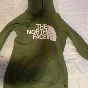 army green north face sweatshirt